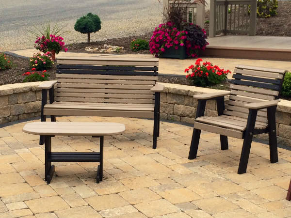 Rollback Plain Benches & Coffee Table in Weatherwood & Black
