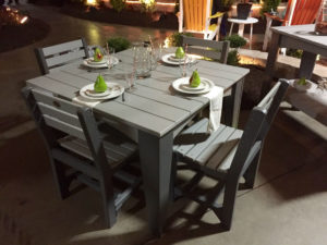 Island Dining Set in Dove Gray & Slate