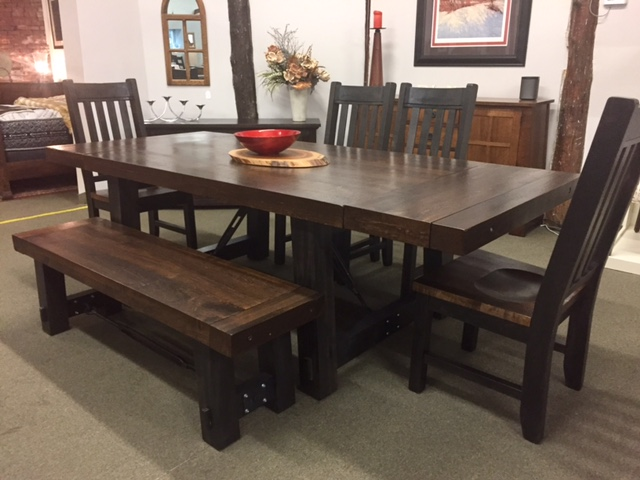 Yukon Turnbuckle Table, Bench and Timber Chairs in Royal Dark/Charcoal on Rough Sawn Wormy Maple