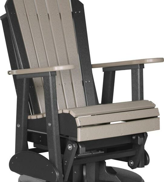 Adirondack Swivel Glider - Weatherwood/Black