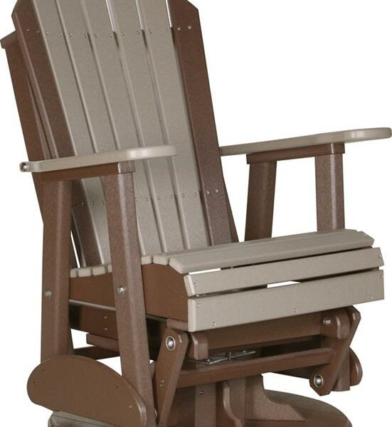 Adirondack Swivel Glider - Weatherwood/Brown