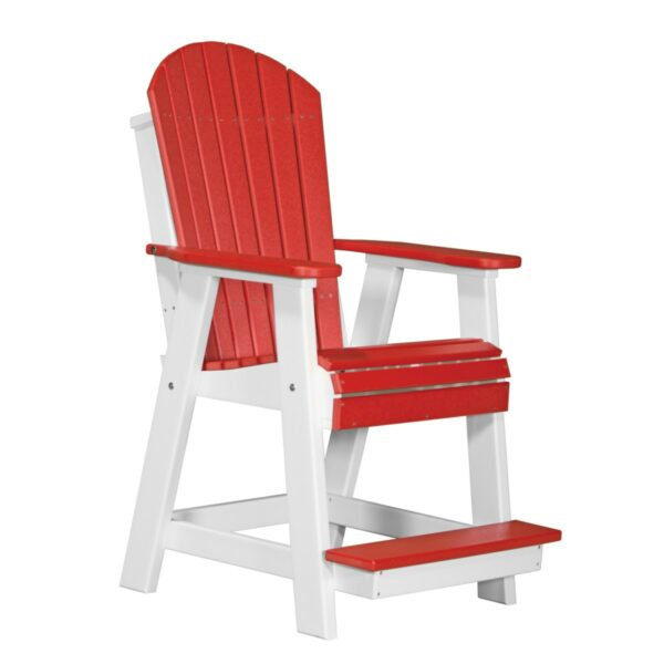 Adirondack Balcony Chair - Red & White