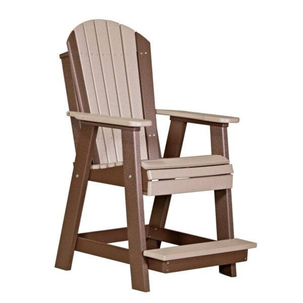 Adirondack Balcony Chair - Weatherwood & Brown