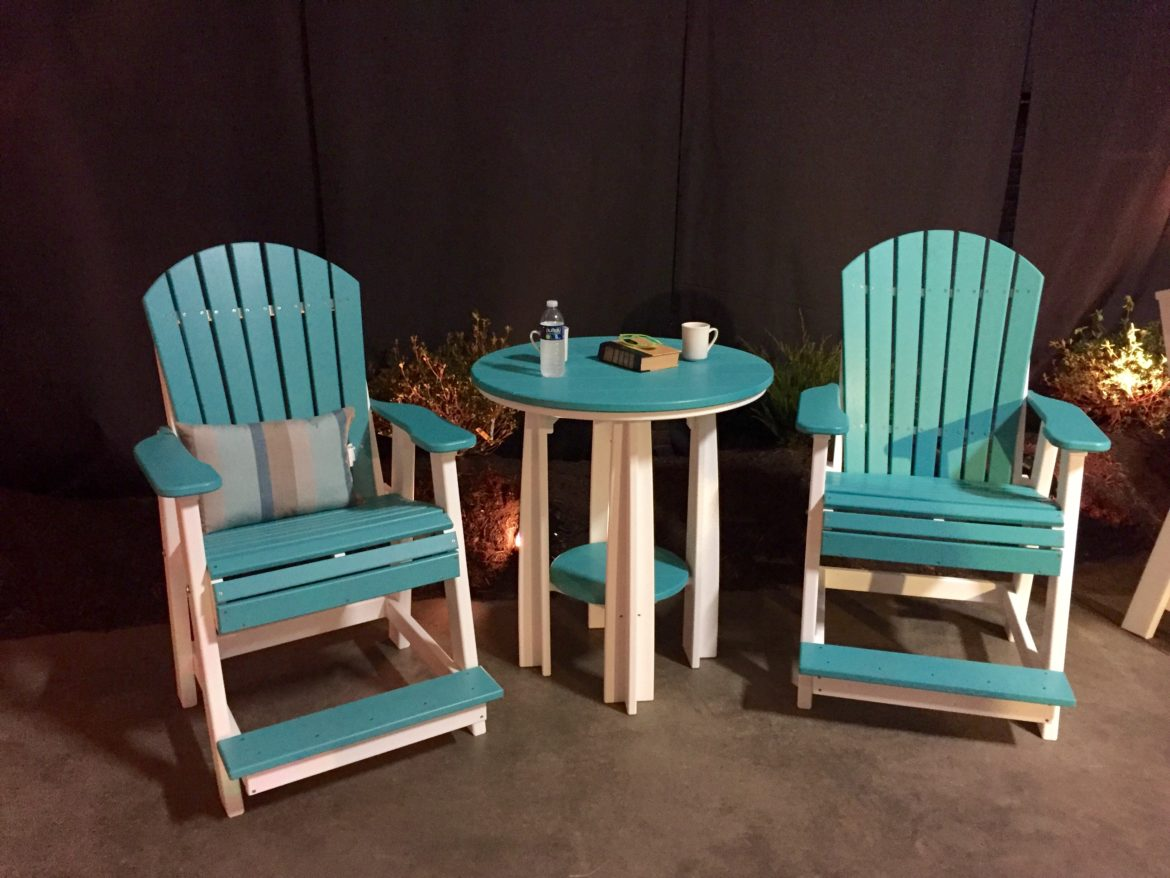 Adirondack Balcony Chairs in Aruba Blue & White