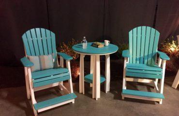 Adirondack Balcony Chairs in Aruba Blue & White
