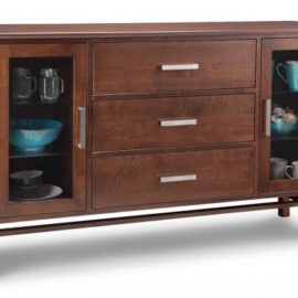 Brooklyn 3-Centre Drawer 2-Glass Door Sideboard