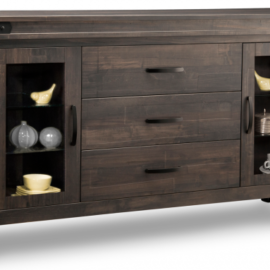 Solid Wood Sideboard with Glass Doors