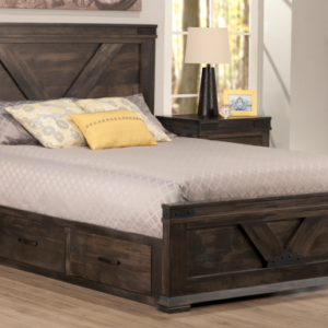 Solid Wood Bed with Drawers