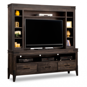 Solid Wood TV Stand with Hutch