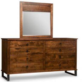 Cumberland 8-Drawer Long High Dresser & Wood Panel Mirror