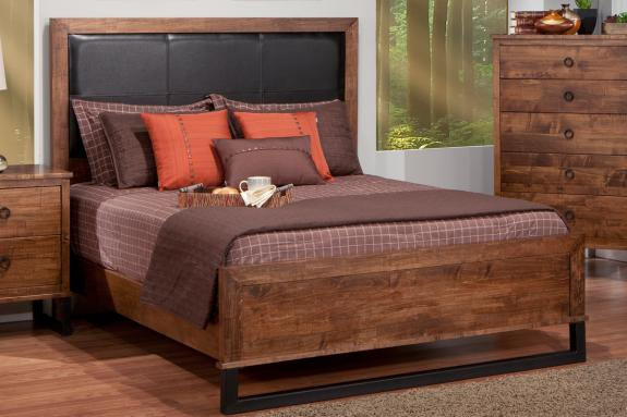 Cumberland Bed with Leather Headboard and Low Footboard (Queen)