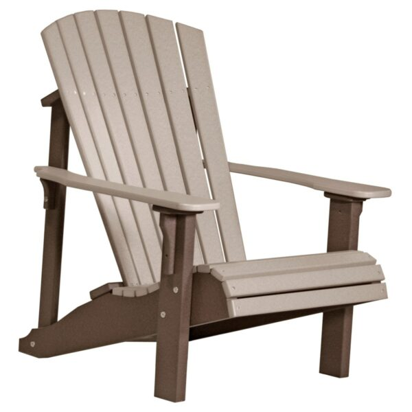 Deluxe Adirondack Chair - Weatherwood & Brown