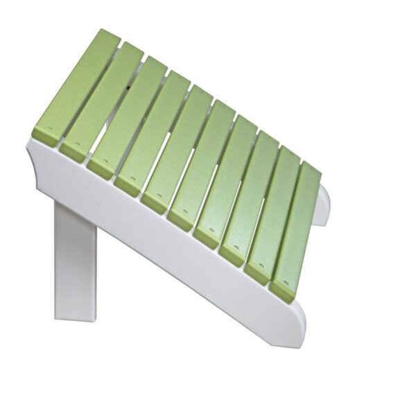Deluxe Adirondack Footrest - Lime Green & White