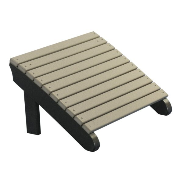Deluxe Adirondack Footrest - Weatherwood & Black
