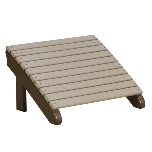 Deluxe Adirondack Footrest - Weatherwood & Brown
