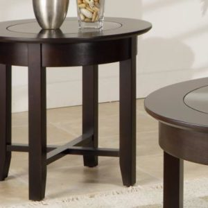 Demi-Lune Round End Table with Glass Top