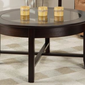 Demi-Lune Round Coffee Table with Glass Top
