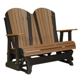 Double Adirondack Glider - Antique Mahogany & Black