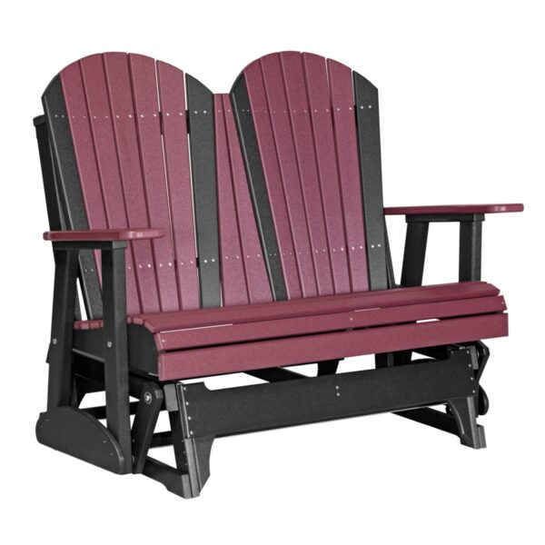Double Adirondack Glider - Cherry & Black