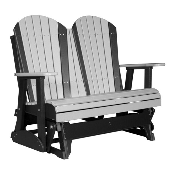 Double Adirondack Glider - Dove Gray & Black