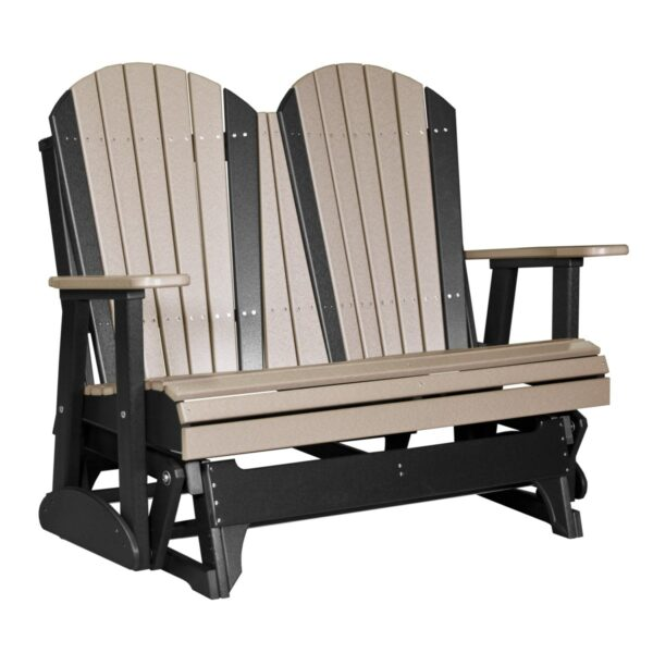 Double Adirondack Glider - Weatherwood & Black