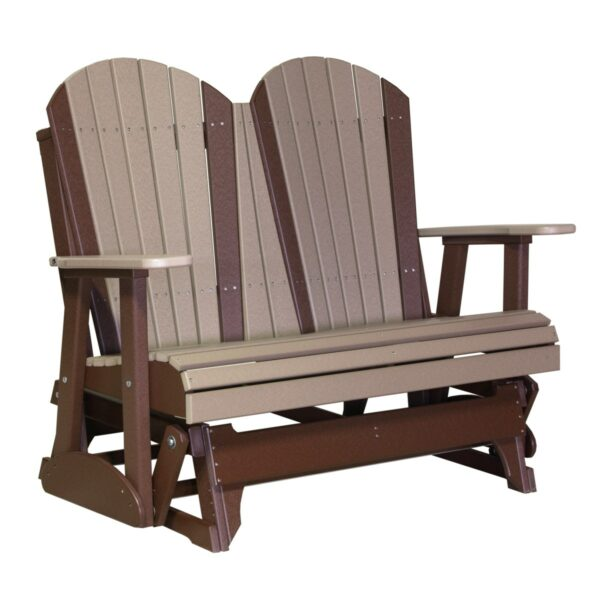 Double Adirondack Glider - Weatherwood & Brown