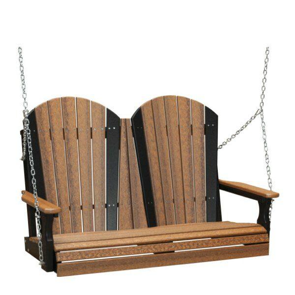 Double Adirondack Swing - Antique Mahogany & Black