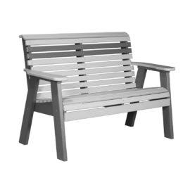 Double Plain Bench - Dove Gray & Slate