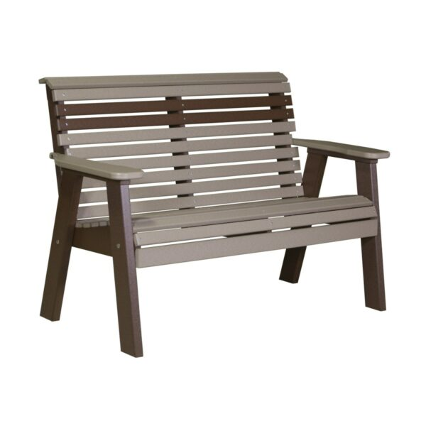 Double Plain Bench - Weatherwood & Brown