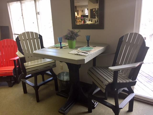 Dove Gray + Black Square Table Set
