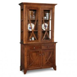 Florence 2-Drawer 2-Door Buffet & Hutch with Glass Shelves