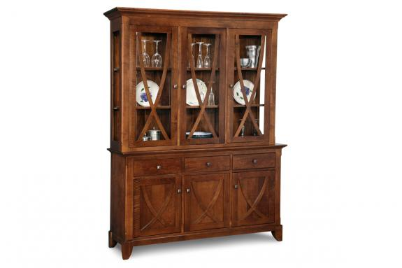 Florence 3-Drawer 3-Door Buffet & Hutch with Glass Shelves