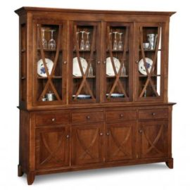 Florence 4-Drawer 4-Door Buffet & Hutch with Wood Shelves