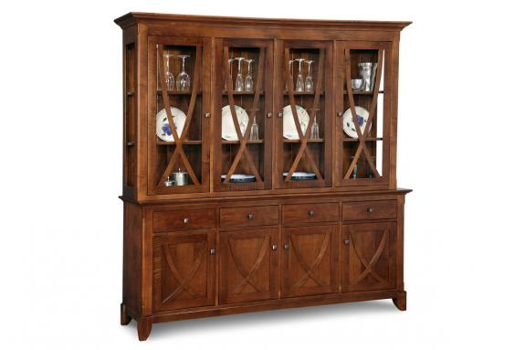 Florence 4-Drawer 4-Door Buffet & Hutch with Glass Shelves