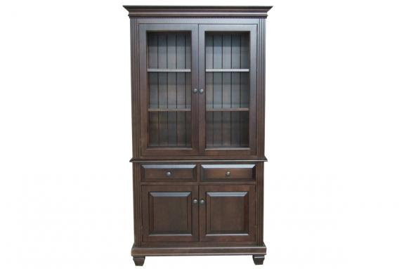 Florentino 2 Door Buffet Hutch With Glass Shelves LED Lighting