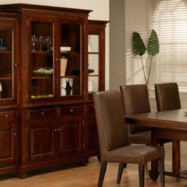Florentino 4-Door Buffet & Hutch with Glass Shelves & LED Lighting