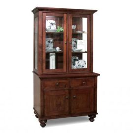 Georgetown 2-Door Buffet & Hutch with Glass Shelves & LED Lighting