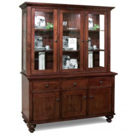 Georgetown 3-Door Buffet & Hutch with Glass Shelves & LED Lighting