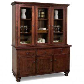 Georgetown 3-Door Buffet & Hutch with Wood Shelves