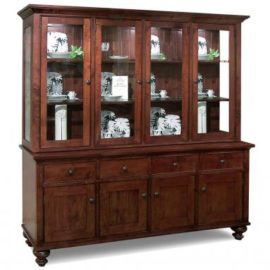 Georgetown 4-Door Buffet & Hutch with Glass Shelves & LED Lighting