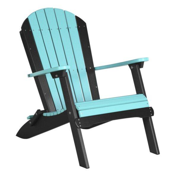 Folding Adirondack Chair - Aruba Blue & Black