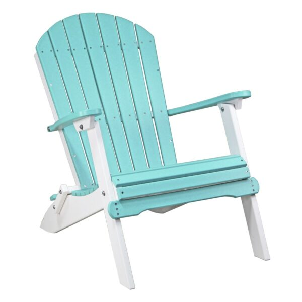 Folding Adirondack Chair - Aruba Blue & White