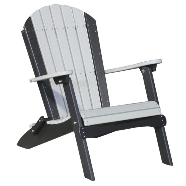 Folding Adirondack Chair - Dove Gray & Black