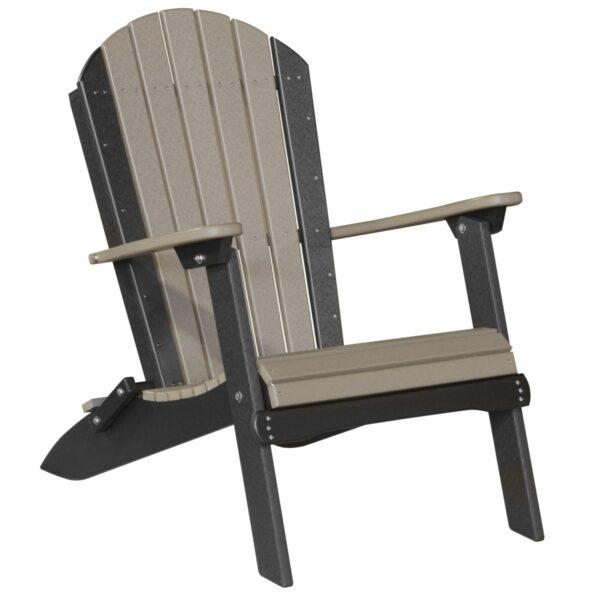 Folding Adirondack Chair - Weatherwood & Black