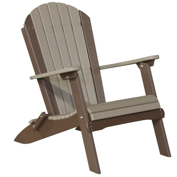 Folding Adirondack Chair - Weatherwood & Brown