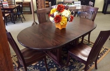 Oak Mission Trestle Table with Flowers