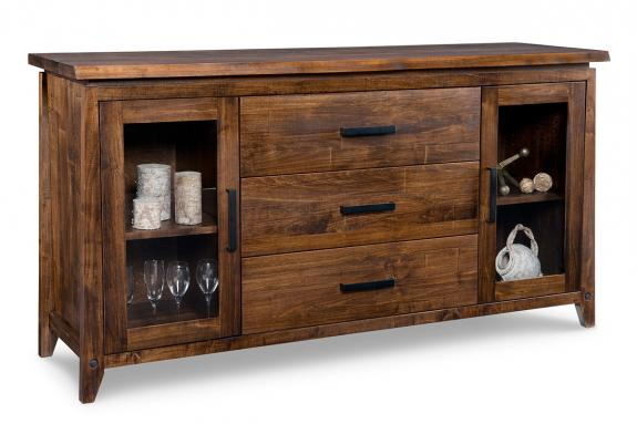 Pemberton 3-Centre Drawer 2-Glass Door Sideboard
