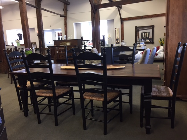 Pine Harvest Table & Rush Seat Ladderback Chairs