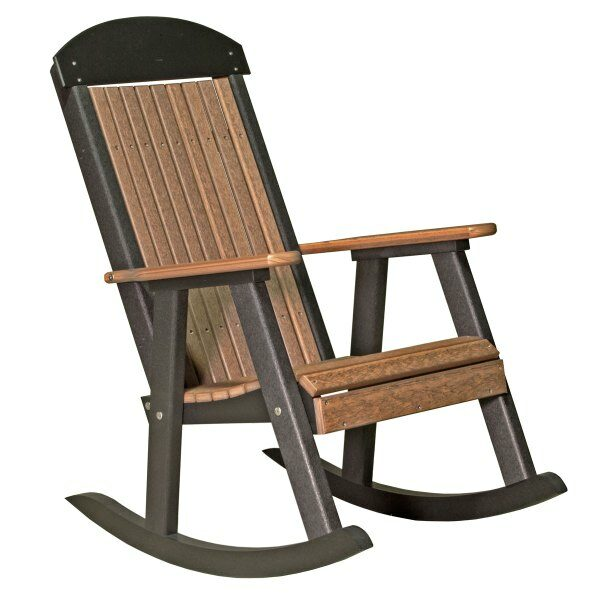 Porch Rocker - Antique Mahogany & Black