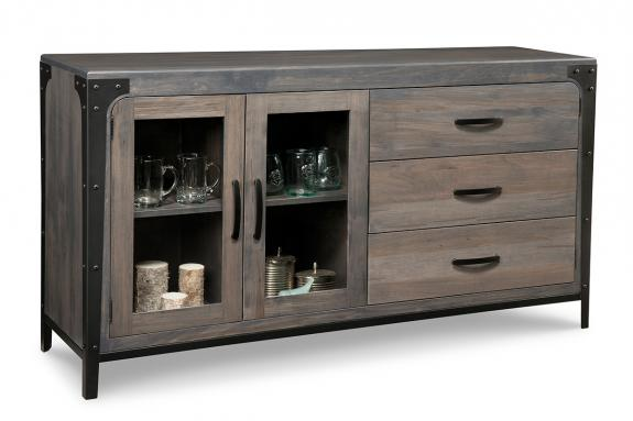Portland 3 Drawer 2 Glass Door Sideboard Mennonite Sideboards